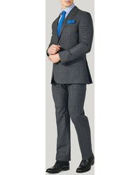 Harvie & Hudson - Grey Prince Of Wales Wool Classic Fit Suit - Lyst
