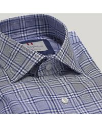 Harvie & Hudson - Navy Prince Of Wales Check Oxford Shirt - Lyst