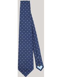 Harvie & Hudson - Petrol Blue With White Spot Woven Silk Tie - Lyst