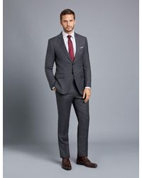 Hawes & Curtis - Grey & Brown Prince Of Wales Plaid Slim Fit Suit Wool Curtis - Lyst