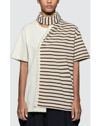 JW Anderson - Striped Jersey Tee With Draped Scarf - Lyst