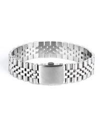 Mister - Silver Chrome Band Bracelet - Lyst