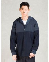 Still Good - Navy Wool Nylon Hooded Shirt Jacket - Lyst
