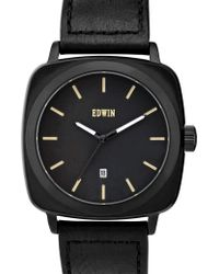 Edwin - Black Dial With Black Leather Band Julius - Lyst