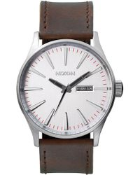 Nixon - Sentry Leather With Silver Dial - Lyst