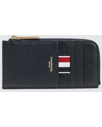 Thom Browne | Pebble Grain And Calf Leather Half Zip Around Wallet With Contrast 4 Bar Stripe | Lyst