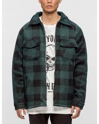 Warren Lotas - Flaming Skull Plaid Sherpa Jacket - Lyst