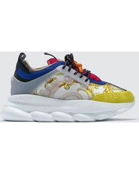 Versace - Feather Print Multicolour Chain Reaction Trainers - Lyst