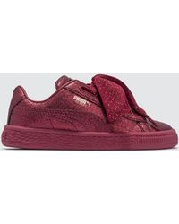 Lyst - PUMA Basket Heart Holiday Glamour Pre-school in Red c4306a111