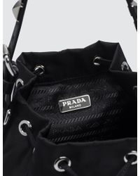 01bbdd25e5 Lyst - Prada Embroidered Nylon Drawstring Bag in Black