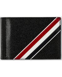 da0097b00ba1 Thom Browne - Money Clip Wallet W/ Rwb Gg Diagonal Intarsia Stripe In  Pebble Grain