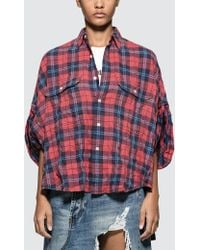R13 - Oversized Rolled-sleeve Plaid Shirt - Lyst
