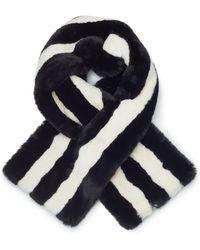 James Lakeland - Navy / White Faux Fur Striped Snood - Lyst