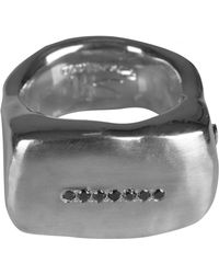 Rosa Maria - Seven Black Dimaond Solid Silver Ring Womens - Lyst