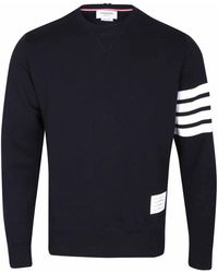 Thom Browne - Navy Blue Crew Neck Sweatshirt With Iconic Stripe Armband - Lyst