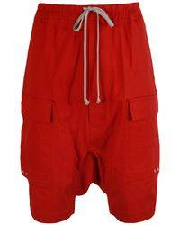 Rick Owens Larry Drawstring Cargo Pods Shorts Red