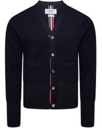 Thom Browne - Rwb Back Stripe Merino Wool Cardigan Navy - Lyst