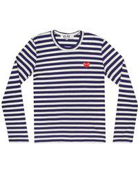 Comme des Garçons - Play Womens Red Heart Stripe T-shirt Navy - Lyst