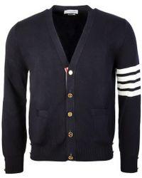 Thom Browne - Milano Stitch V Neck 4 Bar Cardigan Navy - Lyst