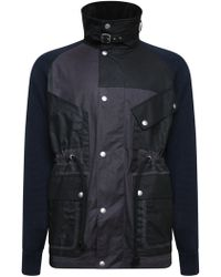 Maison Margiela - Contrast Knit Sleeve Wax Jacket Black - Lyst