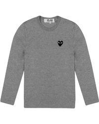 Comme des Garçons - Play Mens Black Heart Long Sleeve T-shirt Grey - Lyst