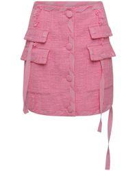 MSGM Button Down Boucle Mini Skirt