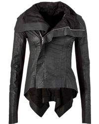 Rick Owens - Asymmetric Wool-paneled Coated Linen And Cotton-blend Biker Jacket - Lyst