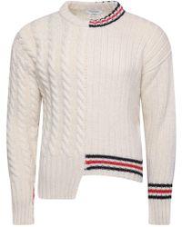 Thom Browne - Asymmetric Rwb Intarsia Stripe Wool Pullover White - Lyst