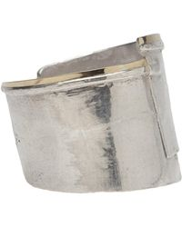 1-100 - Silver Cuff With Layered Gold Trim - Lyst