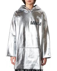 MM6 by Maison Martin Margiela - Metallic Hooded Pullover - Lyst