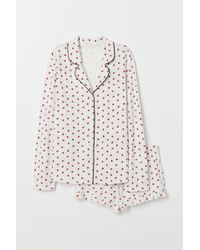 H&M - Pyjama Shirt And Shorts - Lyst