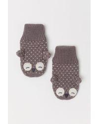 H&M - Textured-knit Mittens - Lyst