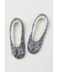 61c8dfcfc50 Lyst - H M Knitted Slippers in Gray
