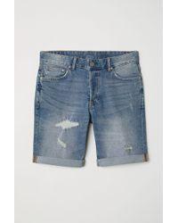 H&M - Jeansshorts Slim - Lyst