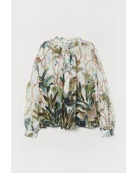 H&M - Grandad Collar Viscose Blouse - Lyst