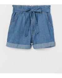 H&M - Denim Paper Bag Shorts - Lyst