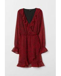 H&M - Wrap Dress With Flounces - Lyst