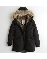 Hollister - Girls Stretch Faux-fur-lined Parka From Hollister - Lyst