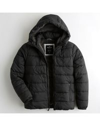 Hollister - Guys Faux-fur-lined Hooded Puffer Jacket From Hollister - Lyst