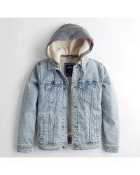 f428781bd3 Lyst - Hollister Guys Hooded Denim Jacket From Hollister in Blue for Men