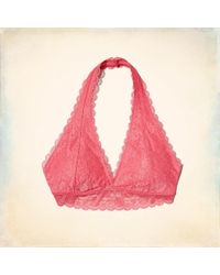 ff4085dc06f78 Hollister Strappy Lace Longline Bralette With Removable Pads in Pink ...
