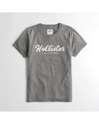 cf98e958 Lyst - Hollister Girls Crewneck Logo Graphic Tee From Hollister in Blue