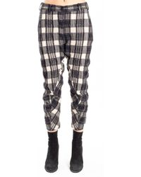 Forme D'expression - Curved Pants With Slit-cuff In Faded Tartan - Lyst