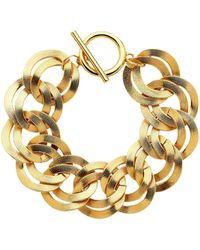 Monet - Gold Double Textured Links Bracelet - Lyst