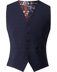 Gibson - Men's Navy Waistcoat With Soft Red Check - Lyst