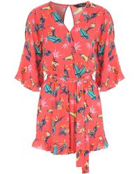 Jane Norman - Printed Cold Shoulder Playsuit - Lyst