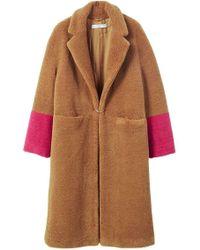 Mango - Contrast Faux Fur Coat - Lyst