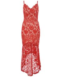 Quiz - Red And Nude Crochet V Neck Strap Dress - Lyst
