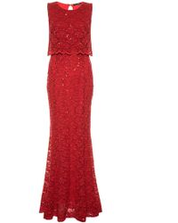 Quiz | Red Sequin Lace Double Layer Fishtail Maxi | Lyst