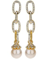 Mikey - Chain Design Cubic Drop Earring - Lyst
